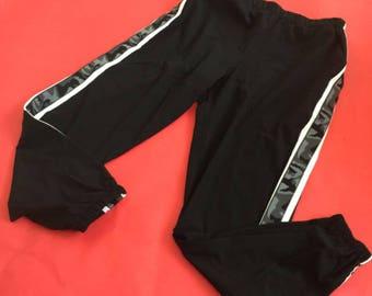 Black High Waisted Stretchy Tracksuit Bottoms W/ Camo & White Stripe Imprint