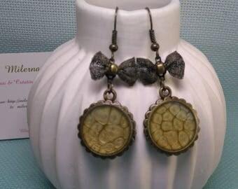 * 3 * pair of earrings in bronze, green