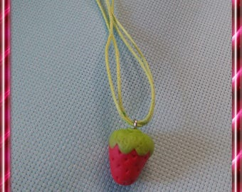 Pendant gourmet Strawberry polymer clay, green neck.