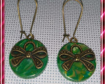 Pair of bronze green tone polymer clay