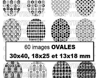 60 digital images for cabochon theme patterns inspired Scandinavian retro seventies grey black white - oval
