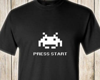 Atari Space Invaders Press Start RETRO T-Shirt Color Black