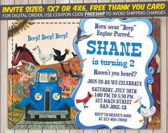 Little Blue Truck Invitation, Little Blue Truck Birthday, Little Blue Truck Birthday Invitation, Little Blue Truck Party, Invite
