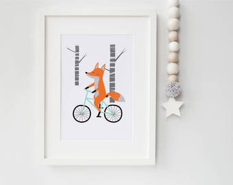 fox riding bicycle children's print/nursery print / baby shower gift/ kid's room/5x7 or 8x10