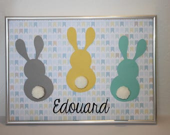 "Deco frame for child's room ""bunnies"" colors: grey, turquoise, yellow and white PomPoms"