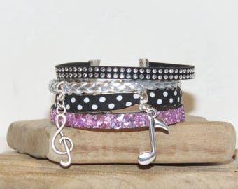 """""""Music notes"""" Cuff Bracelet leather with glitter, leather, bias peas, suede, black, white."""