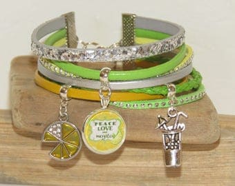 """Cuff Bracelet """"peace, love and Mojito"""" leather, suede and sequins, yellow, green and silver"""