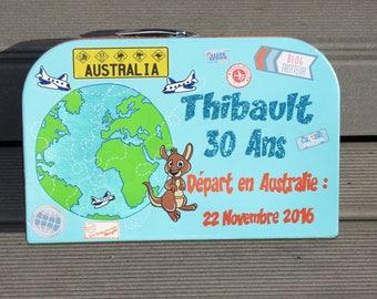 Birthday box, suitcase, travel theme in Australia, Kangaroo, shark, beach, coconut, surfing, blue, yellow, customizable.