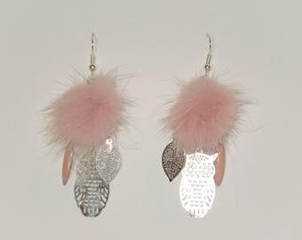 """Earrings, pastel pink fur Pompom, prints, owls, leaves, navette """"earrings Poumpoumpidou"""" Pimprenellecreations"""
