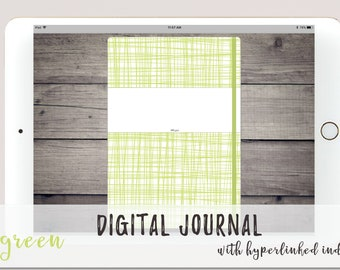 Green Digital Bullet Journal for Goodnotes Noteshelf Notability   Linked Index Pages    Simple Bujo Design with Dot Grid   Digital Journal