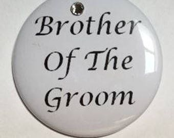 Brother Of The Groom Button With Swarovski Crystal