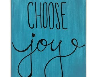 Inspirational Canvas Art, Choose Joy, Word Art, Typography Art, Quote Canvas, Home Decor, Wall Hanging