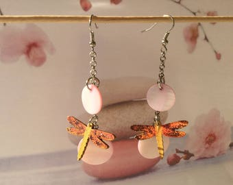 Pink Dragonfly earrings earrings