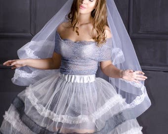 Grey tulle transparent  bridal Overskirt for dress, Grey overskirt for bridal dress, transperent overskirt, Grey overskirt .