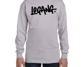Logang Black Design Youth Long Sleeve T-shirt