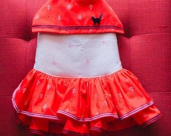 Red navy dress