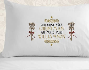 Personalised First Christmas Married Pillowcase - First Christmas Married, Gifts for Married Couples, Couples Pillowcase, Cute Pillowcase