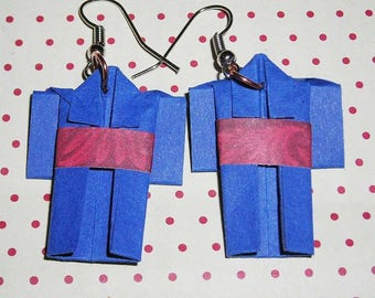 Pair of earrings blue kimono
