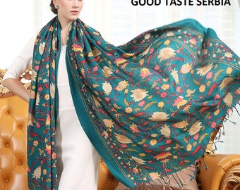 Multicolor Shawl Pashmina Scarf Cashmere Shawl Wrap Hijab Green Womens Scarves Oversized Wool Shawl Esharp Emerald Green Soft Winter Scarf