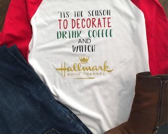 Drink Coffee, Cocoa Watch Hallmark/Christmas/Holiday Baseball T-Shirt/