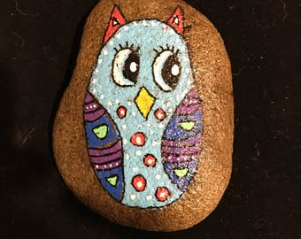 Owl painted rock