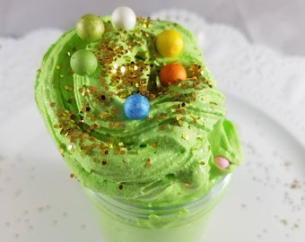 Only 5 available!!  St Patrick's Day Celebration Daiso Clay Butter Slime - with rainbow foam beads and gold glitters- lucky charm scent