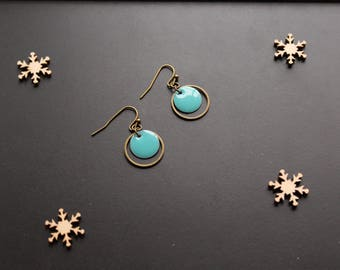 Earring, round, turquoise blue sequin