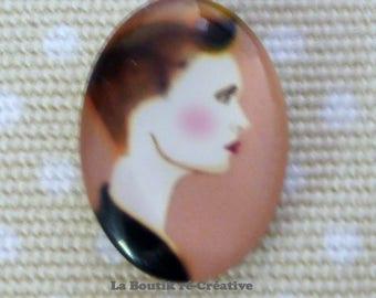1 x Pearl cabochon glass woman modern profile 25x18mm