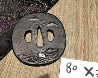 Tsuba Ocean Japanese sword handmade katana / wakizashi size