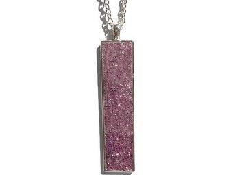 Drop pendant, drop necklace, bar pendant, pendant necklace, boho, under 20 dollars, geode pendant, druzy, rectangle pendant, dark pink druzy