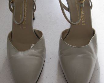 Ladies grey leather high-heeled sling-back Bruno Magli shoes