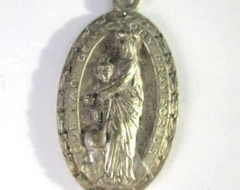 Vintage Our Lady of Victory Medal, Mid Century Ornate Our Lady of Victory Shrine Medal Lackawanna NY, Father Baker Shrine