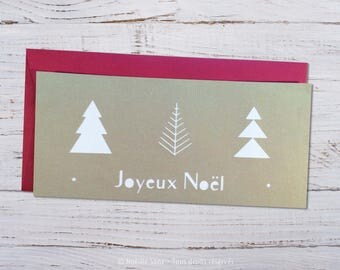 Simple paper cut, 3 trees Christmas card