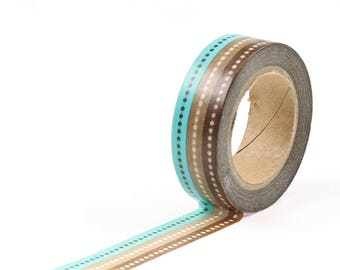 BLue and brown washi tape with dots.