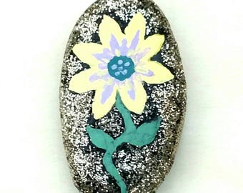 Glitter flower hand painted rocks