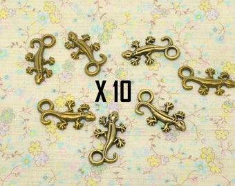 10 x 22mm bronze metal gecko lizard charms / 12mm