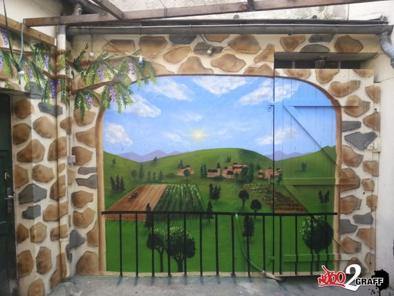 Peinture trompe l 39 oeil fresue murale graffiti graffeur for Trompe l oeil exterieur jardin