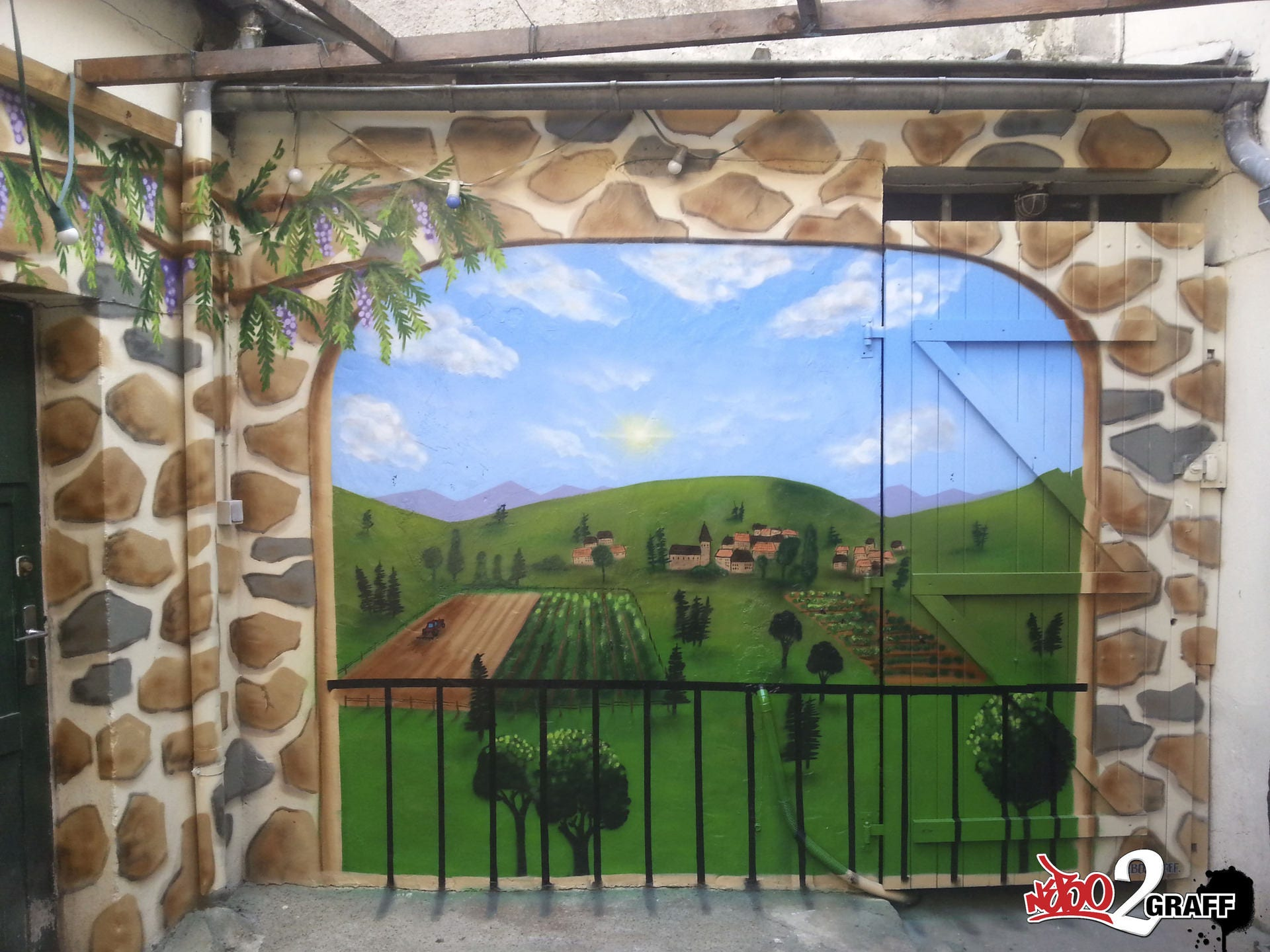 Peinture trompe l 39 oeil fresue murale graffiti graffeur - Trompe l oeil exterieur jardin ...