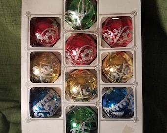 Holly 2 1/2 inch christmas ornaments, 4 color Holly bulbs, christmas glass ornaments