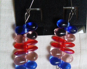 Red, pink and blue beaded earrings