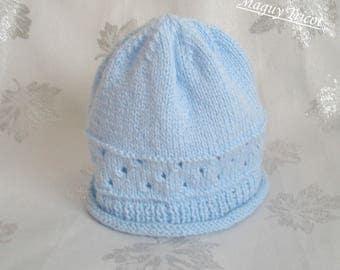 Baby blue baby birth to 3 months wool hat