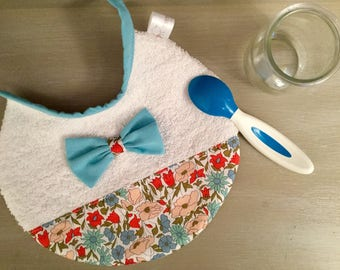 Bib Liberty Poppy and Daisy Blue and pink bow