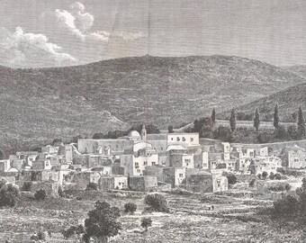 Ain-Karim, Palestine 1881 - Old Antique Vintage Engraving Art Print - Town, Village, Buildings, Trees, Garden, Bushes, Boundary, Wall, Dome