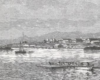 Djibouti 1889, View of Obok, Old Antique Vintage Engraving Art Print, Boats, Ship, Dinghy, City, Coast, Sea, Buildings, Mast, Flags, Jetty
