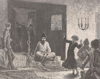 Armenia 1878, An evening at the Khan Panna Khan's house, Old Antique Vintage Engraving Art Print, Man, Woman, Child, Majlis, Sitting, Dance