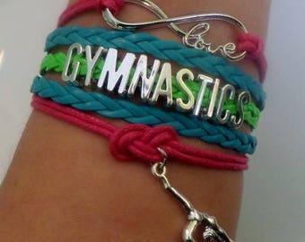 Gymnastics bracelet, Gymnas gift, Gymnastics jewelry, Gymnastics charm, Gymnastics Sports Team jewelry, Neon colors