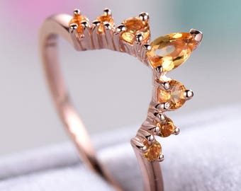 Citrine Wedding Band Rose Gold 925 Sterling Silver Bridal Curved U Shaped Stacking Ring Unique Anniversary Matching Band Promise Gift Set