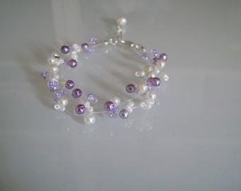 This bracelet Original ivory/light purple/finger pr dress of bride/wedding/party/ceremony/cocktail pearls (cheap)