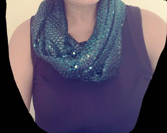 Sequin Sparkly infinity scarf. Woman gift. Free Shipping