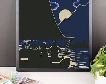 Boating by Moonlight Framed poster